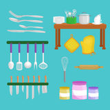 Kitchenware icons vector set.Cartoon kitchen utensil collection for kitchen household cutlery, cooking equipment Stock Images