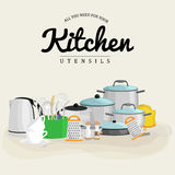 Kitchenware icons vector set.Cartoon kitchen utensil collection   Royalty Free Stock Photography