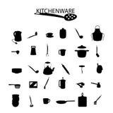 Kitchenware icons on the white background Stock Image
