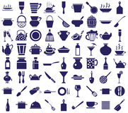 Kitchenware icons on a white. Blue icons on a white background on the topic of dishes royalty free illustration