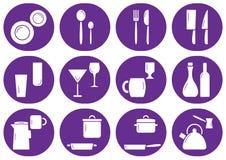 Kitchenware ikony płaski set, set royalty ilustracja
