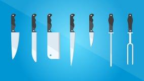 kitchenware Insieme dei generi differenti di coltelli Stile piano Illustrazione di vettore Fotografia Stock Libera da Diritti