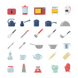 Kitchenware kitchen electronics flat  icon toaster cutlery. Flat creative style kitchenware object electronics modern infographic  icon set. Toaster dry cooker Royalty Free Stock Photos