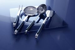 Kitchenware kitchen utensils stainless steel Royalty Free Stock Images