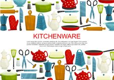 Kitchenware, kitchen utensils and tool banner. Kitchenware, kitchen utensil and dishware vector banner. Knife, pot and pan, cutting board, grater and kettle Royalty Free Stock Photography