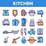 Kitchenware Kreskowej ikony Ustalony wektor Domowa kuchnia Wyt?acza wzory symbol Klasycznego Kitchenware Kulinarne ikony Cienieje ilustracji