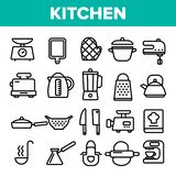 Kitchenware Line Icon Set Vector. Home Kitchen Tools Symbol. Classic Kitchenware Cooking Icons. Thin Outline Web stock illustration