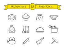 Kitchenware line icons set Royalty Free Stock Photos