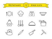 Kitchenware line icons set Royalty Free Stock Photos