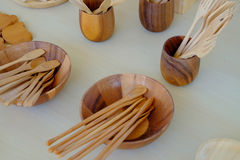 Kitchenware made from wood Stock Photo