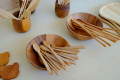 Kitchenware made from wood Royalty Free Stock Photography