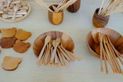 Kitchenware made from wood Stock Photos