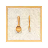 Kitchenware made from wooden against wood frame Stock Photos