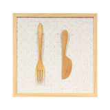 Kitchenware made from wooden against wood frame Royalty Free Stock Image