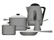 Kitchenware metall. Metal frying pan, pot, kettle, bucket, Turk for coffee on a white background Stock Photography