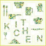 Kitchenware mozaika Zdjęcia Stock