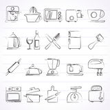 Kitchenware objects and equipment icons Stock Photography
