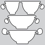 Kitchenware pans icons on a gray Stock Image