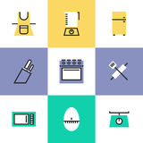 Kitchenware pictogram icons set Stock Image