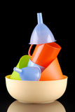 Kitchenware of plastic Stock Images