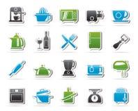 Kitchenware przedmioty i wyposażenie ikony Obrazy Stock