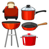 Kitchenware in red color Stock Image