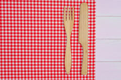 Kitchenware on red towel Stock Image
