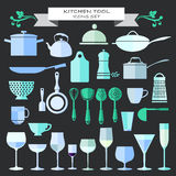 Kitchenware and restaurant , glassware icons set Royalty Free Stock Image
