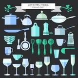 Kitchenware and restaurant , glassware icons set Royalty Free Stock Image