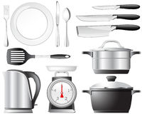 Kitchenware set. Kitchenware pots, knives, and other utensils used in the kitchen Royalty Free Stock Photo