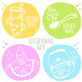 Kitchenware set. Beautiful design silhouette of kitchenware doodles collection Royalty Free Stock Photos