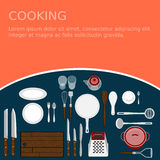 Kitchenware set. Cooking workplace Royalty Free Stock Image