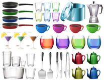 Kitchenware set with glasses Stock Image