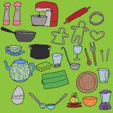 Kitchenware. Set of hand drawn kitchenware Stock Image
