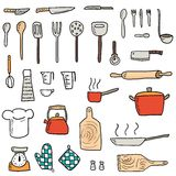 Kitchenware set. Kitchenware icons vector set. Cute kitchen utensils doodle hand drawn style Royalty Free Stock Image