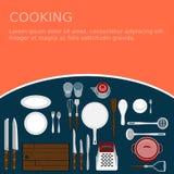 Kitchenware set Kulinarny miejsce pracy Obraz Royalty Free