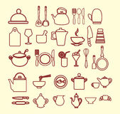 Kitchenware set  outlined Stock Images