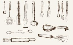 Kitchenware. Set of vector sketches Royalty Free Stock Photo