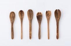 Kitchenware set of wooden fork, spoon and utensils on white back Royalty Free Stock Image