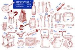 Kitchenware set Wręcza patroszonego wektorowego tableware i kuchennego naczynie ilustraci set błyskowy laptopu światła nakreśleni royalty ilustracja