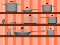Kitchenware on the shelf. Different kinds of kitchen utensils on a shelf in the background Wallpaper Stock Photos