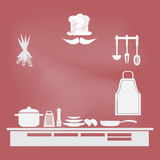 Kitchenware sign, cooking book page concept Royalty Free Stock Images