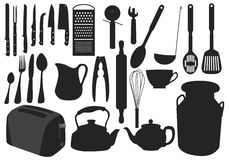 Kitchenware silhouette. Illustration in silhouette of various items of kitchenware Royalty Free Stock Photo