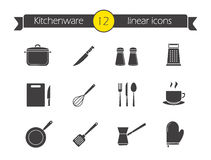 Kitchenware silhouette icons set. Household kitchen tools. Salt and pepper shakers black symbols. Chef cooking tools. Spatula, whisk and utensil. Vector Stock Image