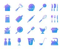 Kitchenware simple gradient icons vector set vector illustration