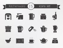 Kitchenware silhouette icons set Royalty Free Stock Image