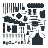 Kitchenware silhouette vector icons. Royalty Free Stock Images