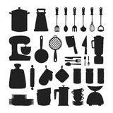 Kitchenware silhouette vector icons. Stock Photography