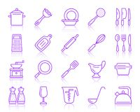 Kitchenware simple color line icons vector set stock illustration