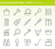 Kitchenware simple black line icons vector set stock illustration